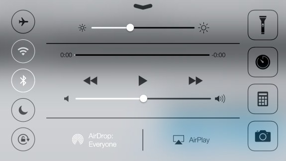 Control Center in iOS 7 also works in Landscape.