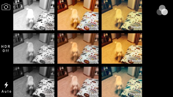 See what filters look like before you take a photo on the iPhone 5s.