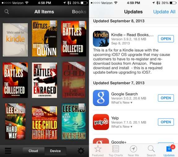 Kindle delivers an iOS 7 app update that users need to install before the iOS 7 release date.