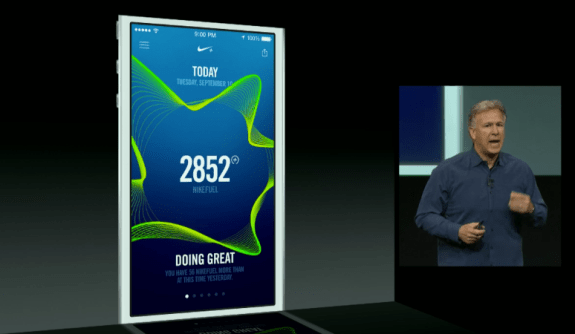 The iPhone 5S will work with a new Nike+ Movement app to track your health and fitness.