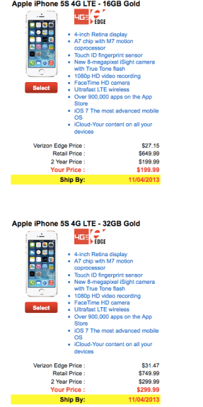The Verizon gold iPhone 5S is sold out and won't be returning any time soon.