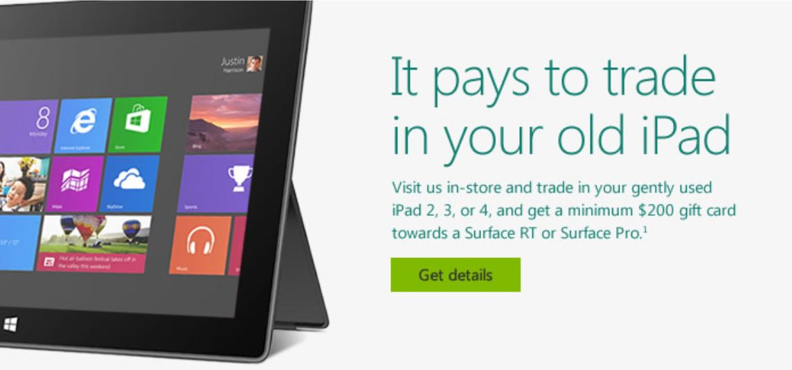 Pushing Apple Customers to the Surface, Microsoft Offers iPad Trade