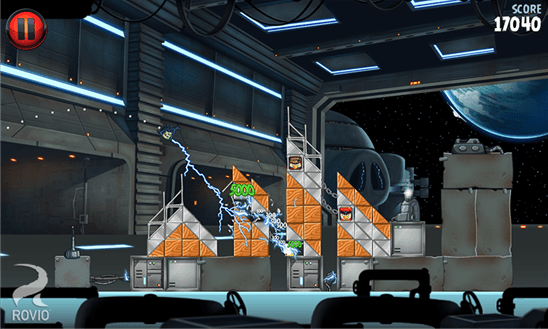 One of the levels from Angry Birds Space 2.