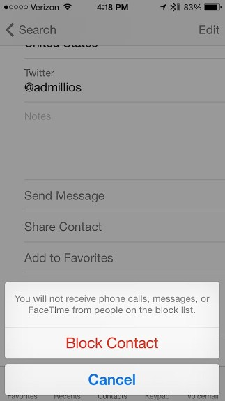 Block calls, texts and FaceTime on iOS 7.