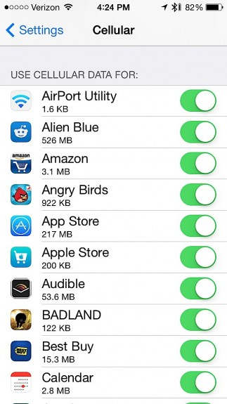 Check the data used by each app in iOS 7.