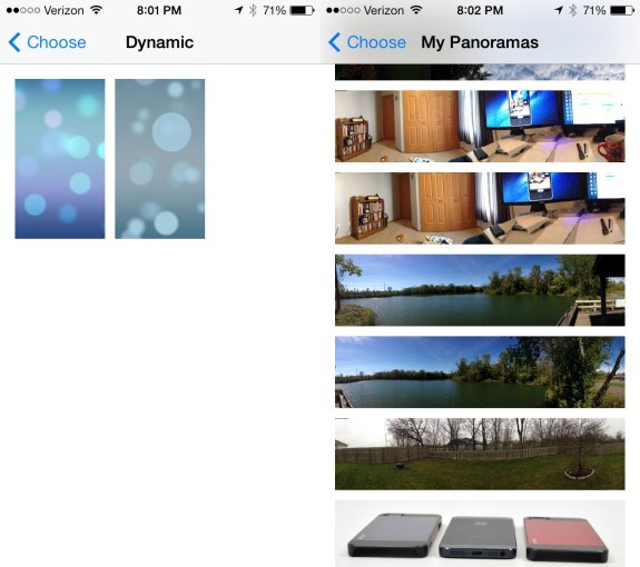 Pick a live wallpaper or a panoramic wallpaper on iOS 7.