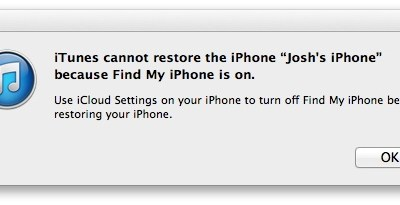 iTunes will not reset an iPhone on iOS 7 if Find My iPhone is still active.