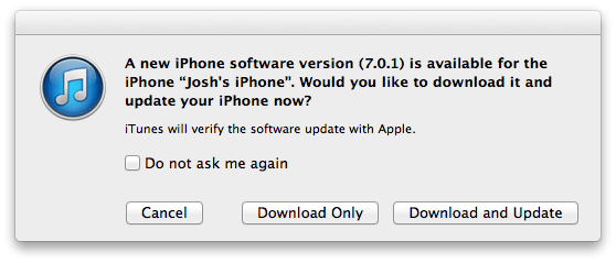 The iOS 7.0.1 update is now available.