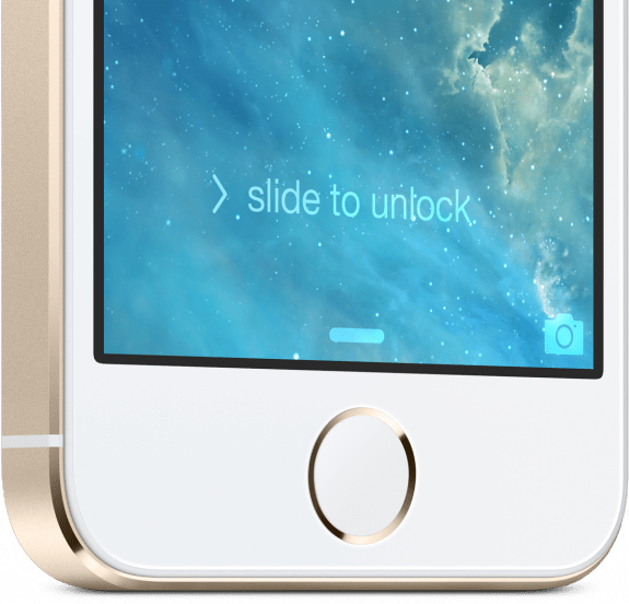 The new TouchID fingerprint reader built into the iPhone 5s.