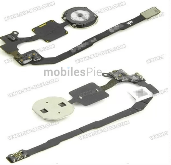 A possible iPhone 5S or iPhone 5C home button with fingerprint sensor.