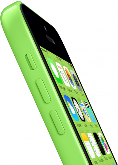 iOS 7 colors match the background and in turn the iPhone 5c's color.