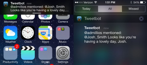 Slide up to dismiss notifications in iOS 7.