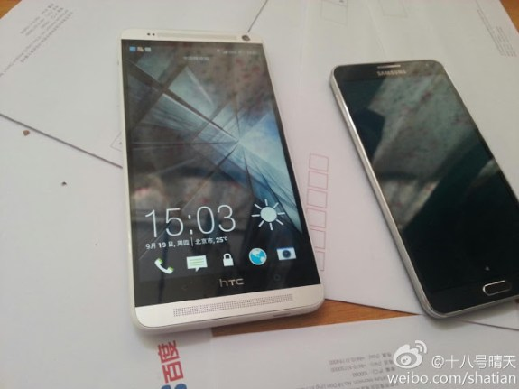 The HTC One max next to the Samsung Galaxy Note 3.