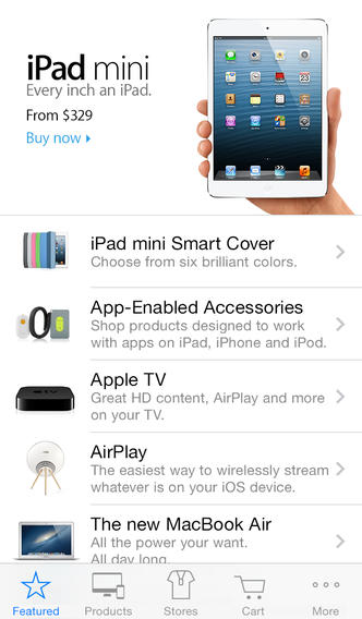 The Apple Store app is a great alternative to websites.