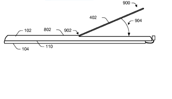 An illustration of the new adjustable kickstand Microsoft has applied for a patent to protect.