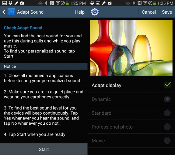 Use Adapt Display and Adapt Sound to customize the display and sound profile for your Note 3.
