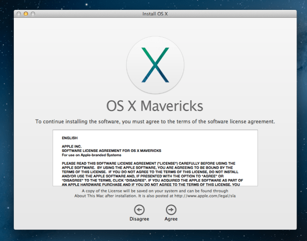 Agree with the terms to upgrade to OS X Mavericks.