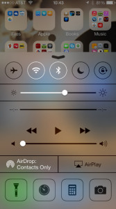 Control Center showing blurred transparency