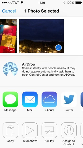 The iOS 7 Share Sheet as presented in the Photos App