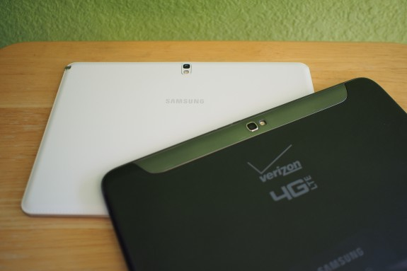 Out with the glossy plastic on last's Note 10.1 and in with the stitched faux leather rear on the Note 10.1 2014 Edition.