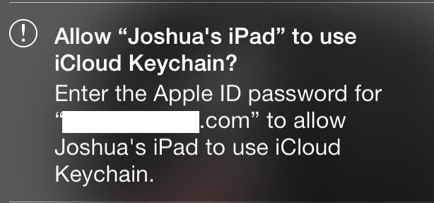 iCloud Keychain approval request on an iPhone.