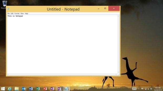 The NotePad App on the Desktop