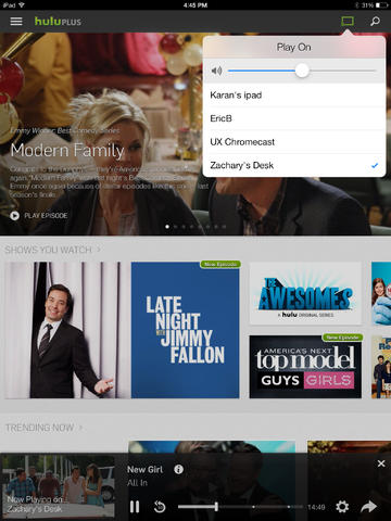 hulu plus on iPad now works with chromecast