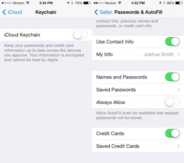 Setup iCloud Keychain on IOS 7.0.3.