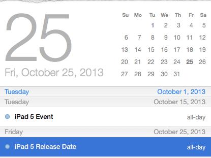 The iPad 5 release date could land on October 25th if rumors of an October 15th event are true.