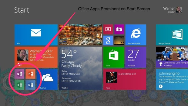 Office Apps have prime location on Start Screen