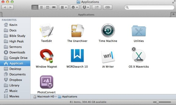 osx mavericks installing in applications folder