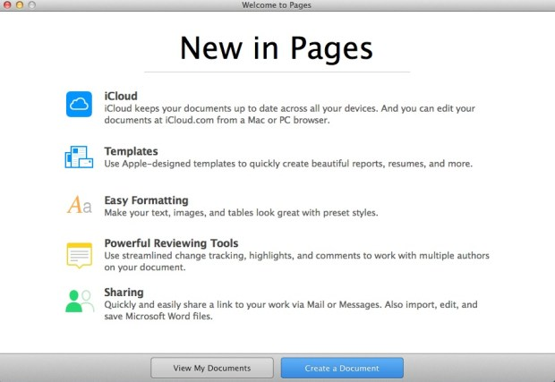 pages welcome screen