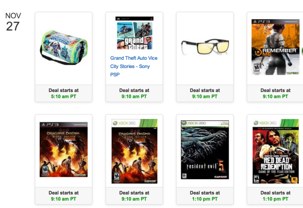 Amazon shows the 2013 Black Friday gaming deal schedule.
