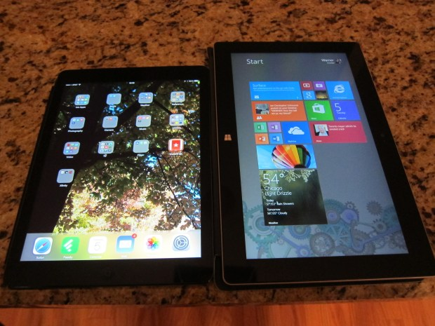 The iPad Air and Surface 2 in portrait mode