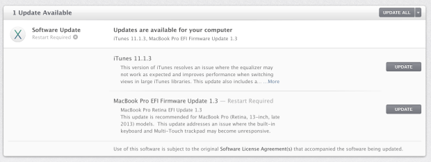 Apple offers a free update to fix 13-inch macbook Pro Retina late 2013 touchpad and keyboard freezing issues.