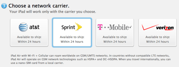 iPad Air 4G LTE options