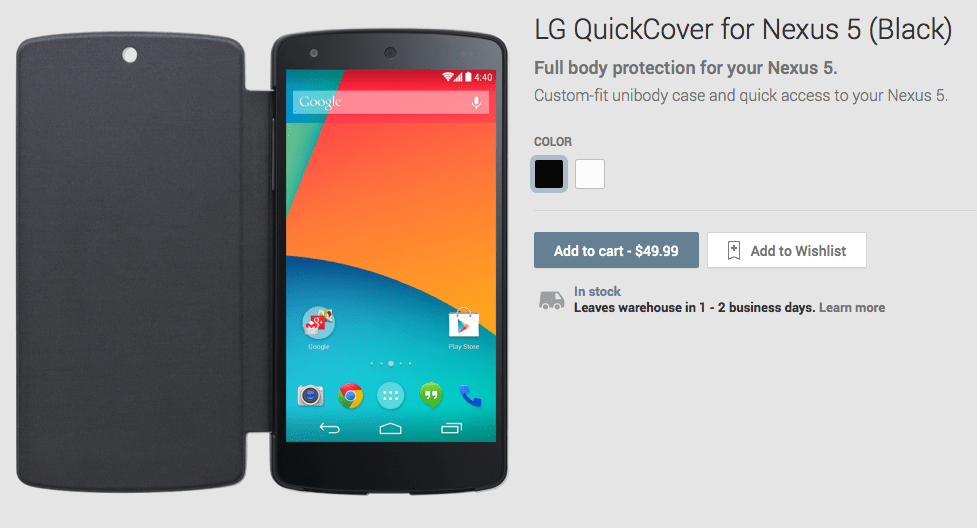 Nexus 5 Cases and Wireless Charger Hit Google Play