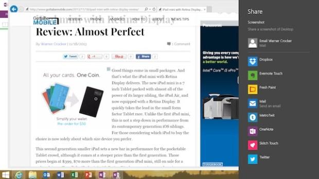 Desktop IE only allows screenshots to be shared