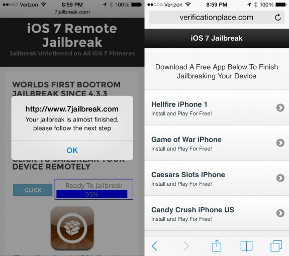 One example of a fake jailbreak that claims to work on your device and asks users to complete trials.