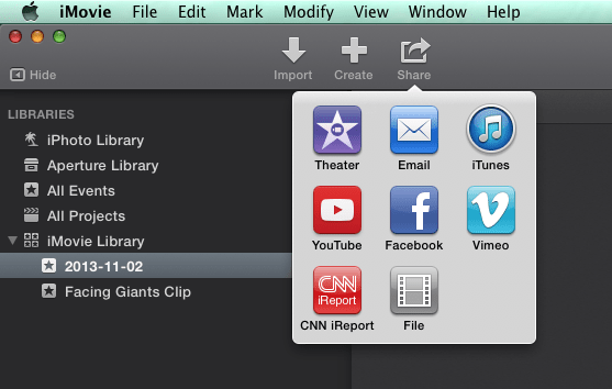 shared project for osx imovie via itunes