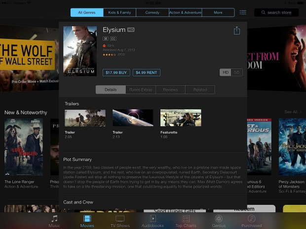 Tap on Rent to start renting a movie on the iPad.