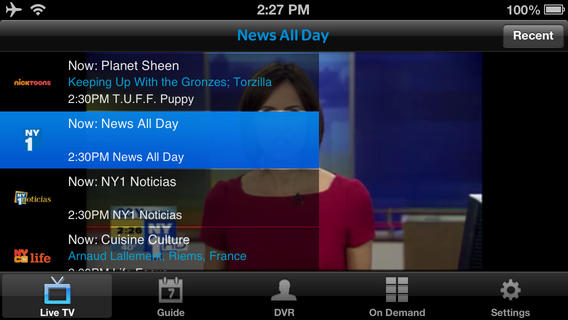 Watch Live TV on the iPhone and on Demand with Time Warner Cable.