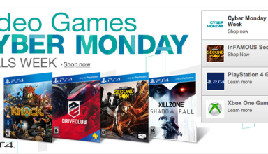 The Amazon Cyber Monday 2013 games page teases PS4 game deals.