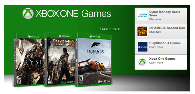 Xbox One game deals arrive for the Amazon Cyber Monday 2013 event.