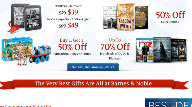 barnes and noble cyber monday deals