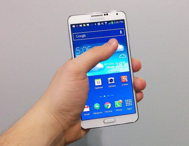 The Galaxy Note 3 one handed use. TO better reach the middle of the screen I typically hold the Note 3 like this.