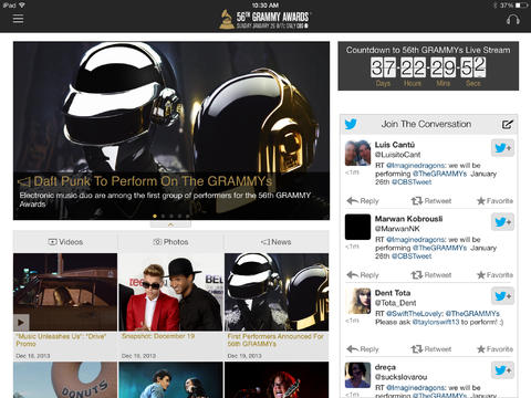 The 2014 GRAMMYs iPad app is a free way to see videos, photos and social updates about the GRAMMYs and to see the nominees for each category.