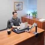 ergotron workfit p sit stand workstation in sitting position