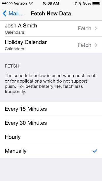Check email less often for better battery life.