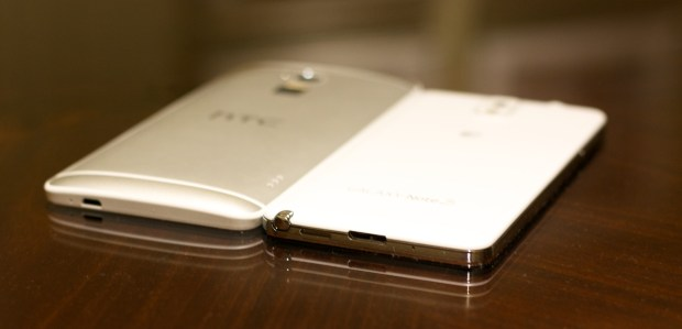The Galaxy Note 3 is thinner, but the rounded edges help the HTC One Max.